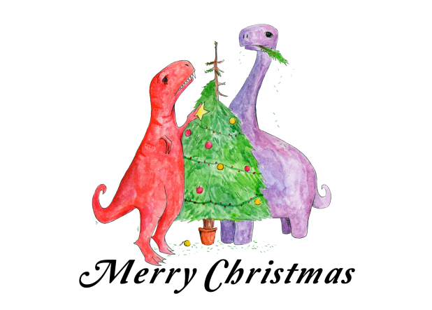 Dinosaur Christmas decoration card by Sarah Cochrane