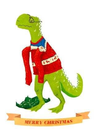 T-rex Christmas card by Sarah Cochrane