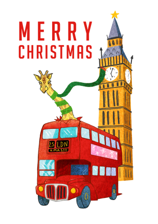 giraff bus london illustration christmas sarah cochrane