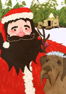 Hagrid Christmas Card by Sarah Cochrane