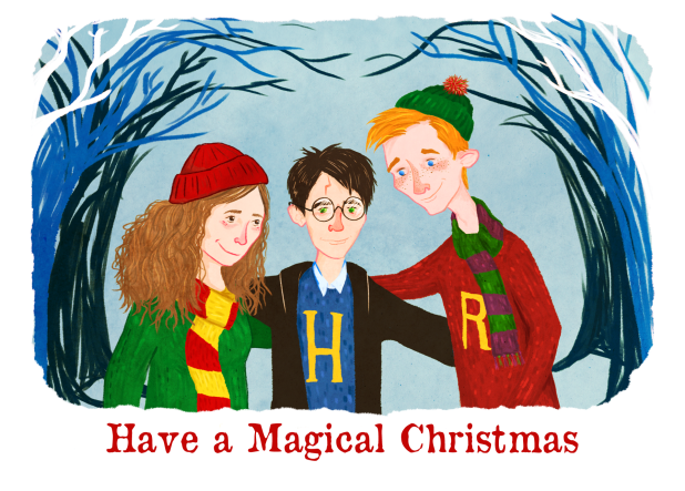 Harry Potter, Ron and Herminoe Christmas card by Sarah Cochrane
