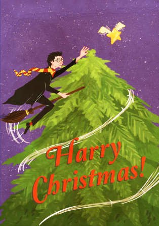 Harry Potter Christmas card design by Sarah Cochrane