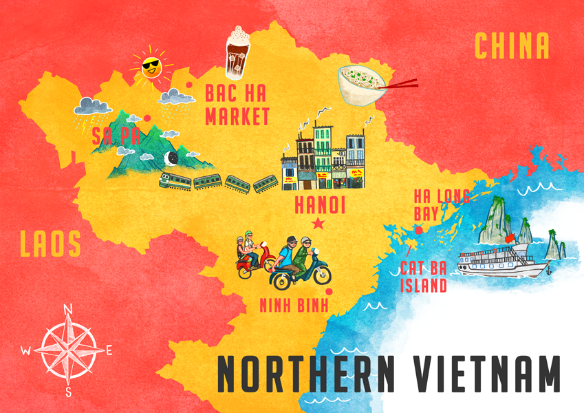 Illustrated Map Vietnam Sarah Cochrane