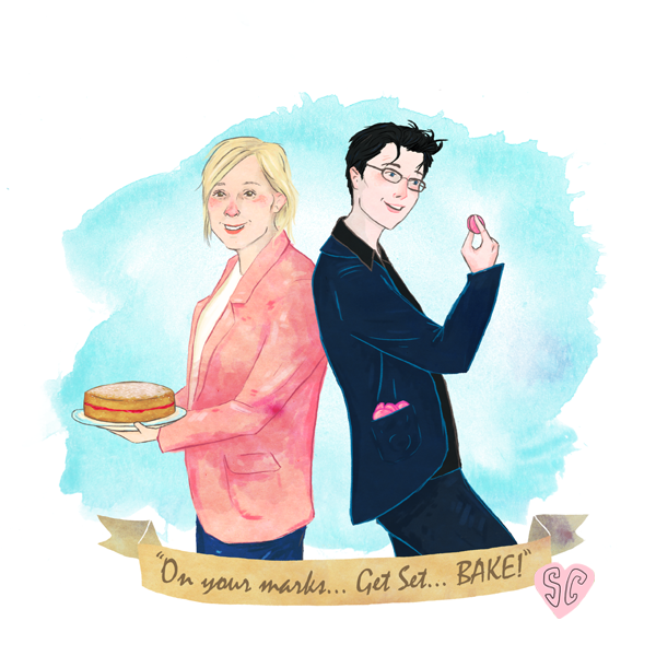 Mel and Sue Great British Bake Off illustration by Sarah Cochrane