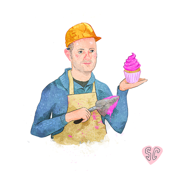 Richard Burr Great British Bake Off Illustration by Sarah Cochrane