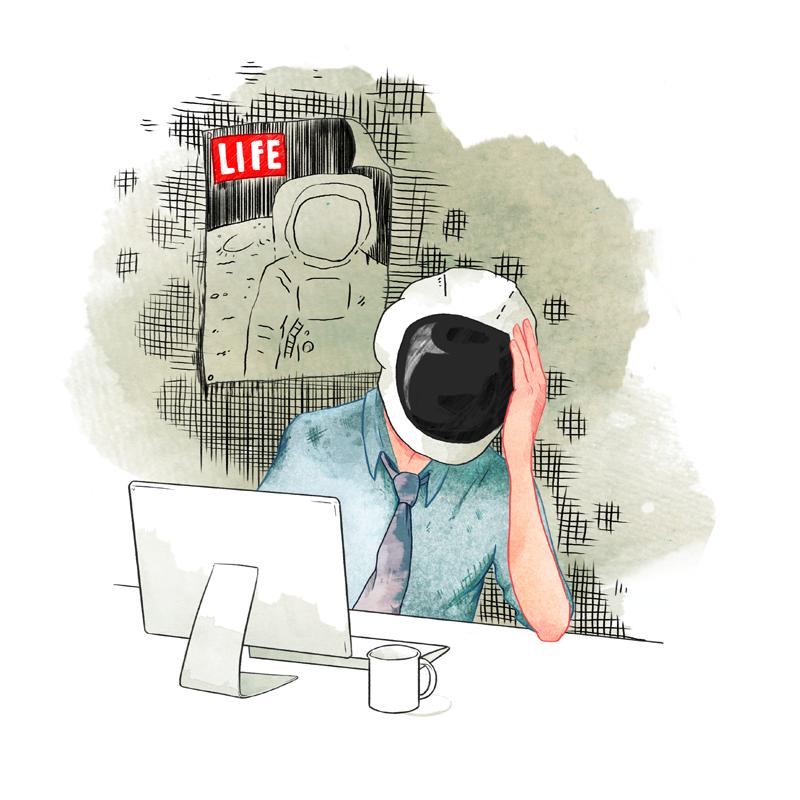 Space man Work Life illustration sarah cochrane