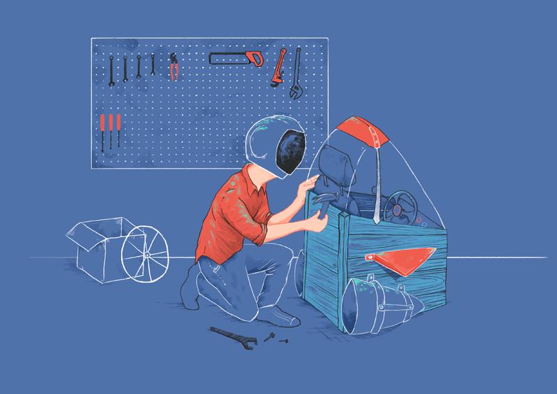 spacee build illustration rocket sarah cochrane