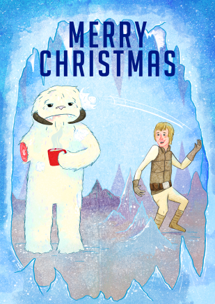 Star wars Wampa Chritsmas Illustration by Sarah Cochrane