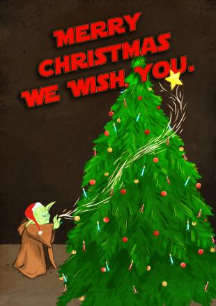 Yoda christmas illustration by Sarah Cochrane